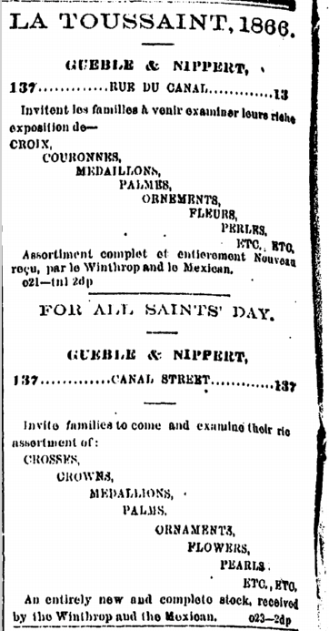 An ad in French and English from 1866.