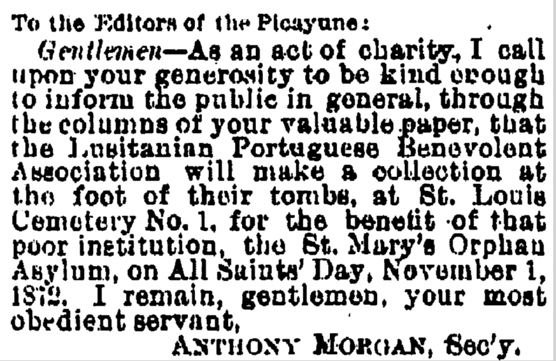 Letter to the editor from 1872.